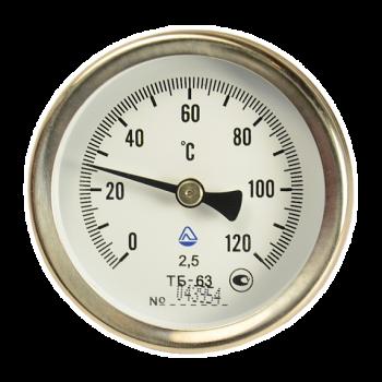 Термометр биметаллический осевой ТБ 63-50 с погружной гильзой