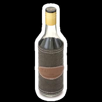 Стеклянная бутылка круглая в чехле 0,5 л