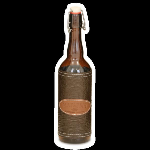Стеклянная бутылка с бугелем 0.75 л с коричневым чехлом