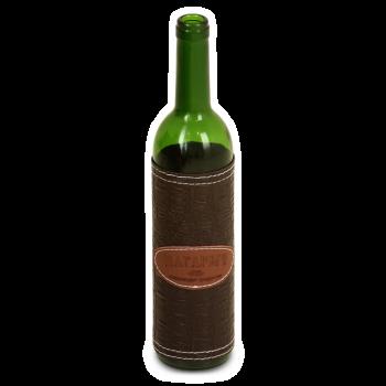 Стеклянная бутылка с Бордо зеленая 0.75 л, чехол коричневый