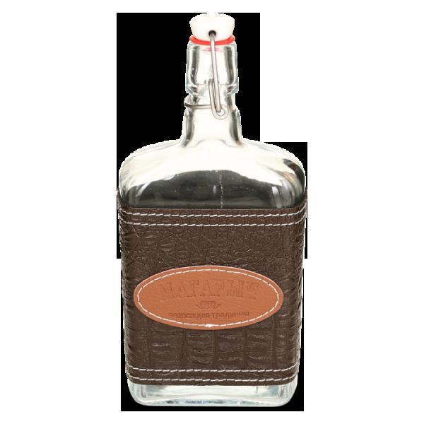 Стеклянная бутылка «Малек» 0,75 л с бугельной пробкой, коричневый чехол