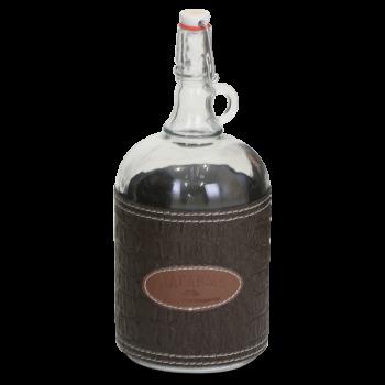 """Стеклянная бутылка """"Венеция"""" 2 л с бугельной пробкой, коричневый чехол"""