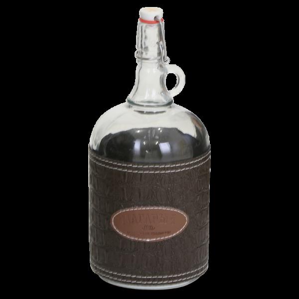 Стеклянная бутылка «Венеция» 2 л с бугельной пробкой, коричневый чехол