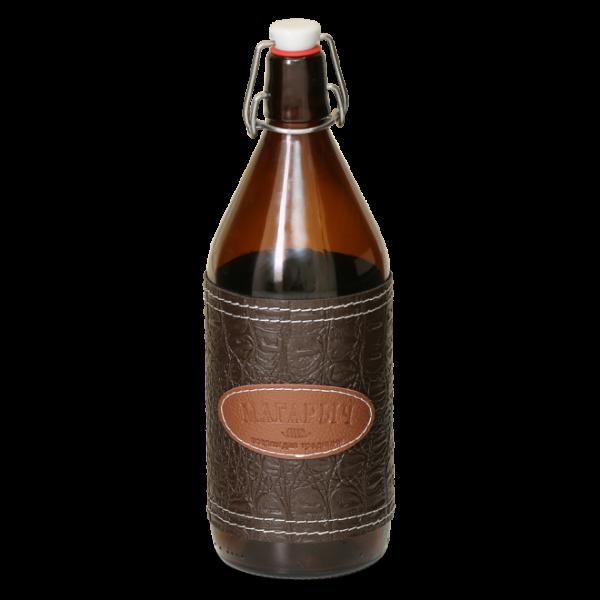 Стеклянная бутылка с бугелем 1 л с коричневым чехлом